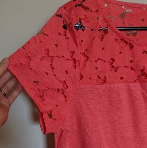 Yoke Lace Top in Pink Coral Heather